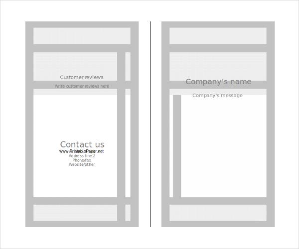 Printable Blank Paper Brochure