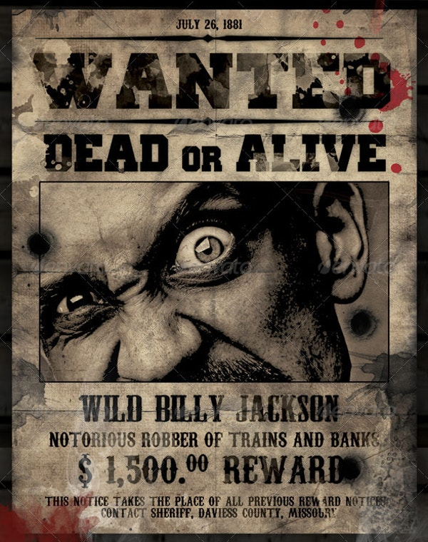 16 wanted poster templates free sample example format for Wanted dead or alive poster template free