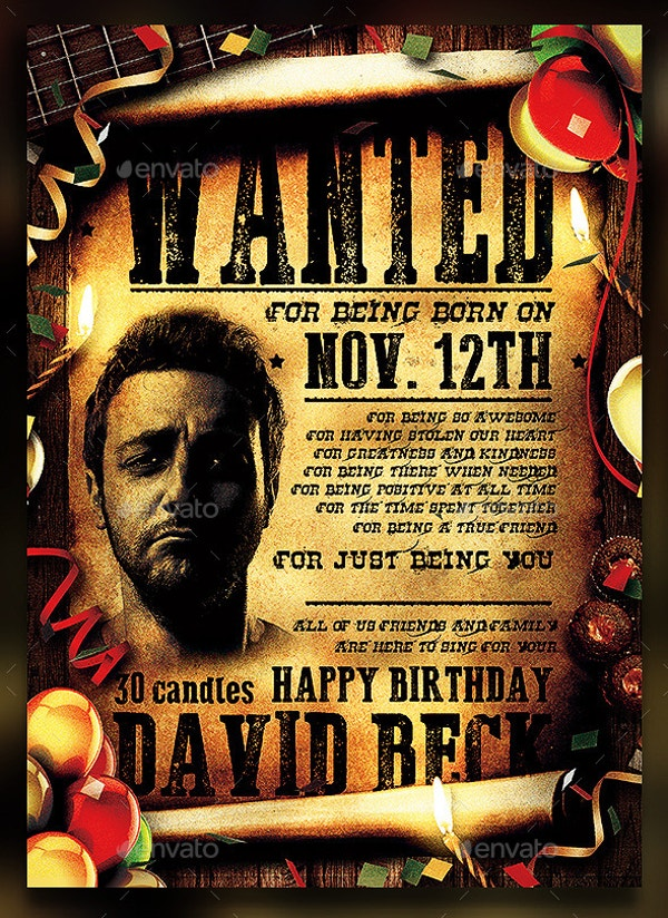 funny wanted birthday party poster template