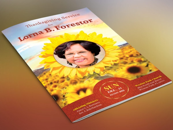 Sunflower Funeral Program Publisher