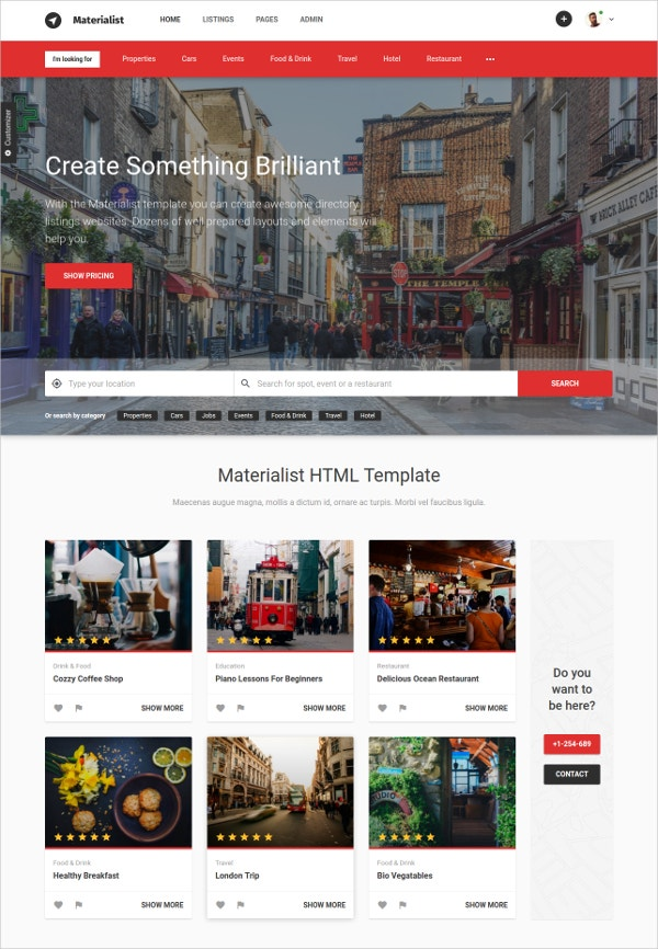 Material Directory HTML WordPress Template