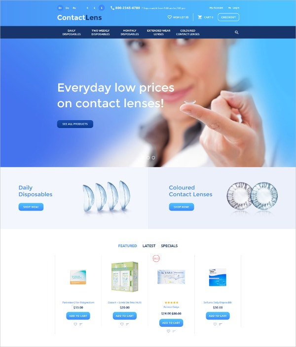 Ecommerce Contact Lens OpenCart Template