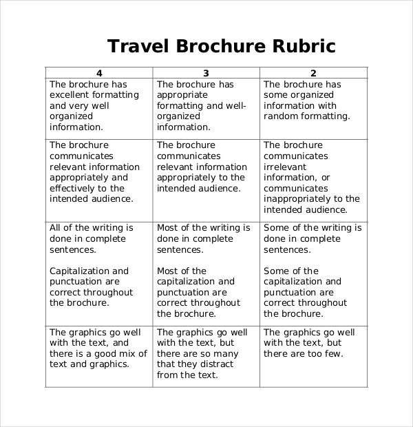 travel brochure rubric