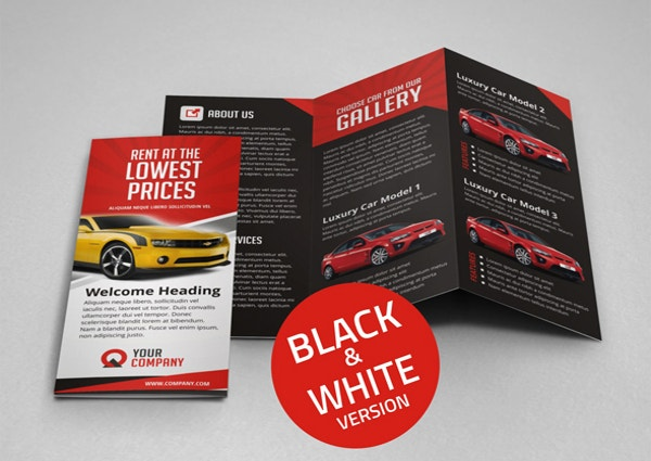 Creative Car Rental Tri Fold Brochure Template  Car Flyer Template