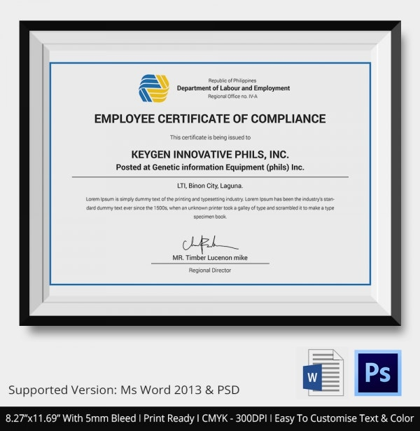 Simple Certificate of Compliance Template