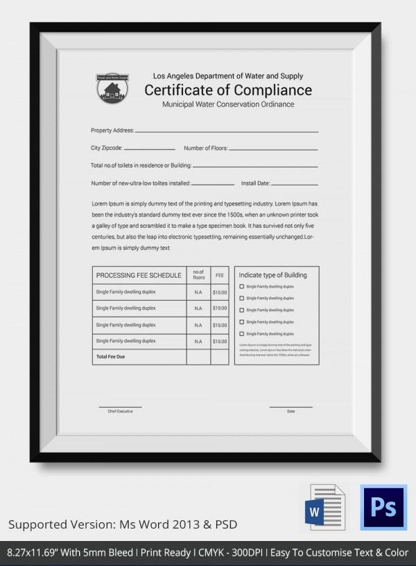 General Certification of Compliance Template