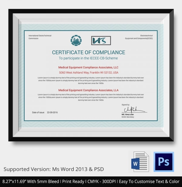 Equipment Testing Compliance Certificates