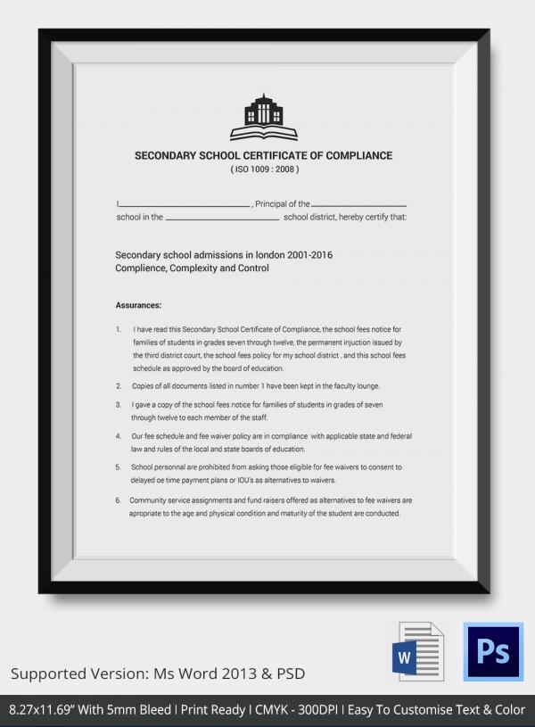 Secondary School Certificate of Compliance