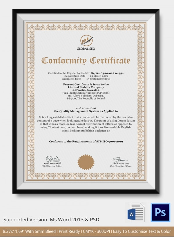 Manufacturers Certificate of Conformance Template