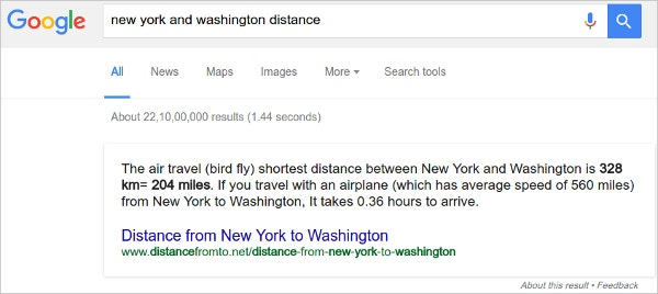 Distance and time calculation