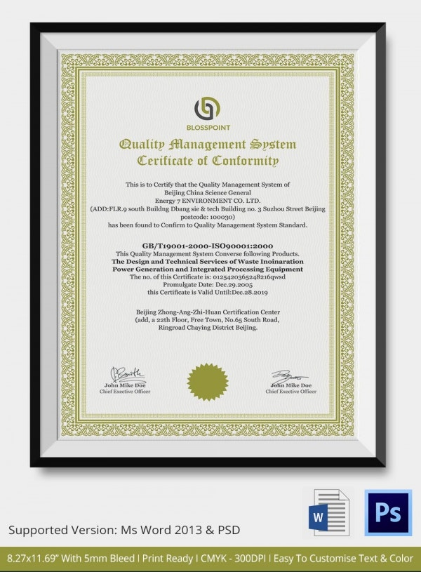 Certificate-of-Quality-Conformance-Template Quality Of Conformance Example on printable certificate, kintana non, generic certificate, aircraft certificate, manufacturer certificate, matrix template api,