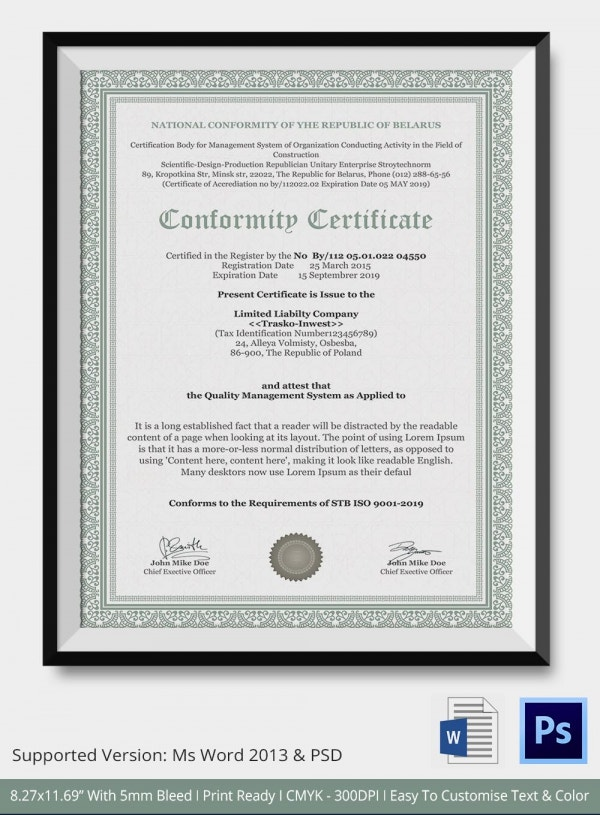 Certificate of conformance template 7 free word pdf documents download free premium for Certificate of compliance template