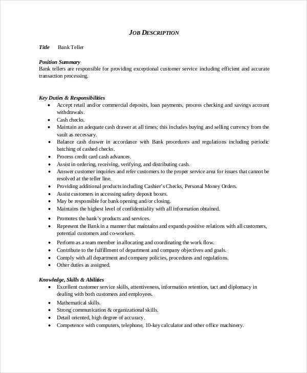 General Bank Teller Resume  Bank Teller Duties For Resume