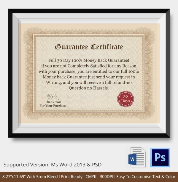 Guarantee Professional Certificate Template