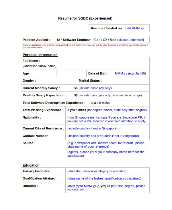 software engineer resume template 6 free word pdf documents