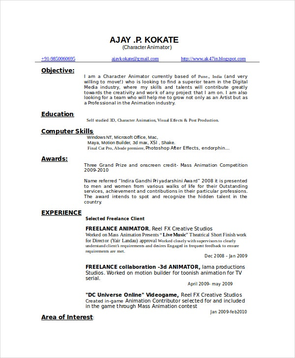 animator resume template
