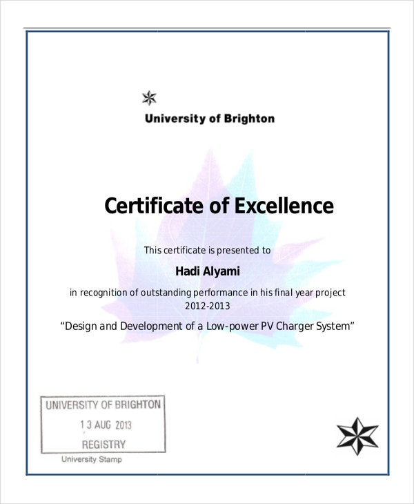 Excellence certificate template 16 free word pdf psd for Certificate of excellence template