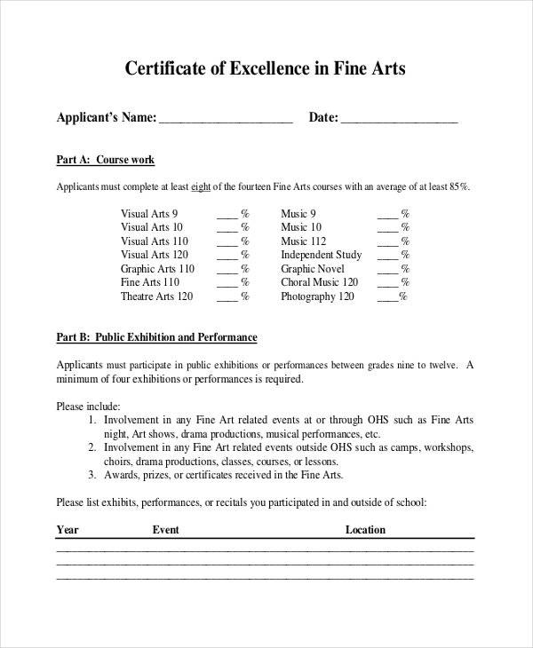 Certificate of Excellence in Fine Arts