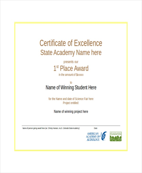 certificate of excellence template free download word - excellence certificate template 16 free word pdf psd
