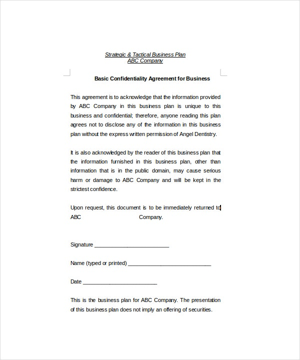Basic Confidentiality Agreement   Free Word Pdf Documents