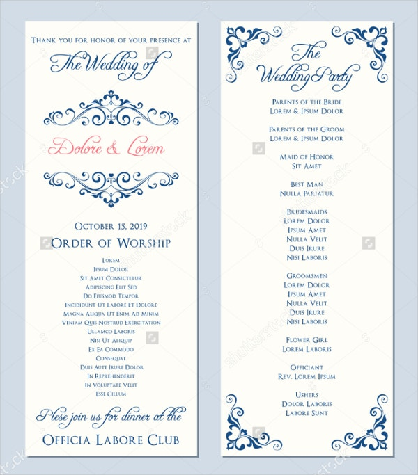 Wedding program wedding programs wedding ceremony program 18 wedding program templates free psd ai eps format download pronofoot35fo Images