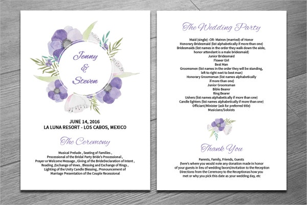 18+ Wedding Program Templates - Free Psd, Ai, Eps Format Download