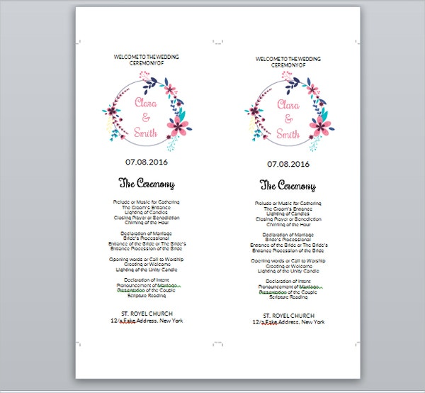 Floral Wedding Ceremony Program Template