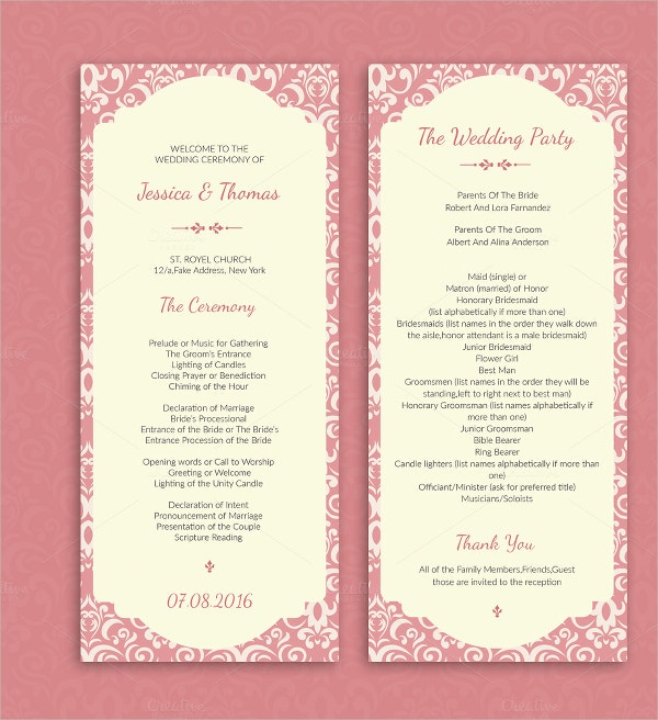Elegant Wedding Ceremony Program Template