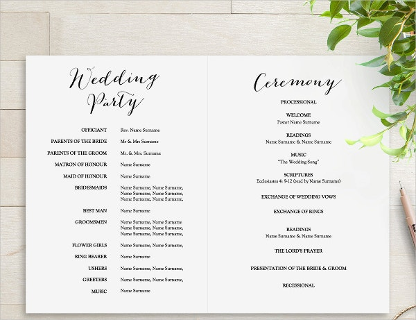 25 wedding program templates free psd ai eps format for Free wedding program templates