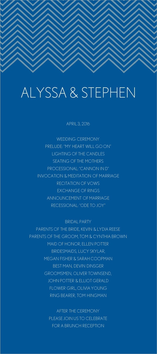 Blue Chevron Wedding Program