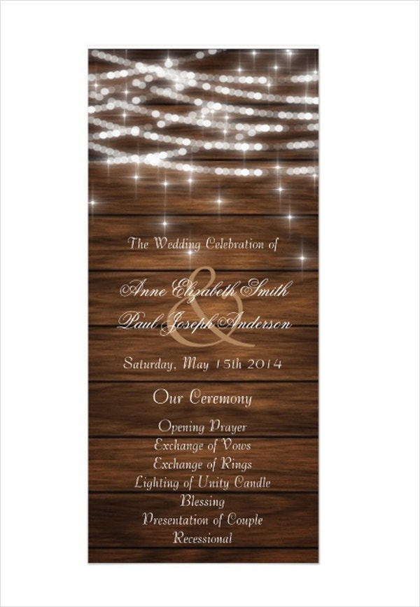 String Lights Wedding Program Template