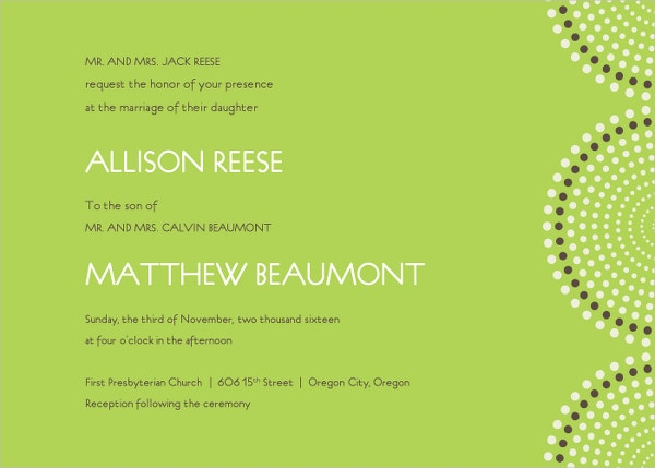 Modern Green Wedding Program