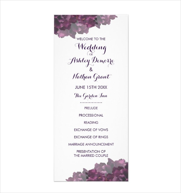 Purple Floral Wedding Program Template