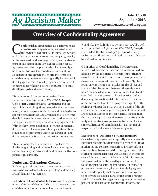 Overview of Basic Confidentiality Agreement