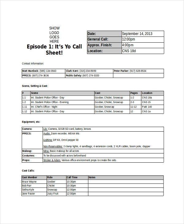 Doc600763 Call Sheet Template Excel Download a Free Call – Call Sheet Example