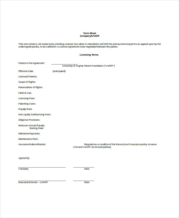 Term Sheet Template