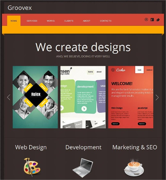 Design Studio Social Media Facebook HTML CMS website Template $59