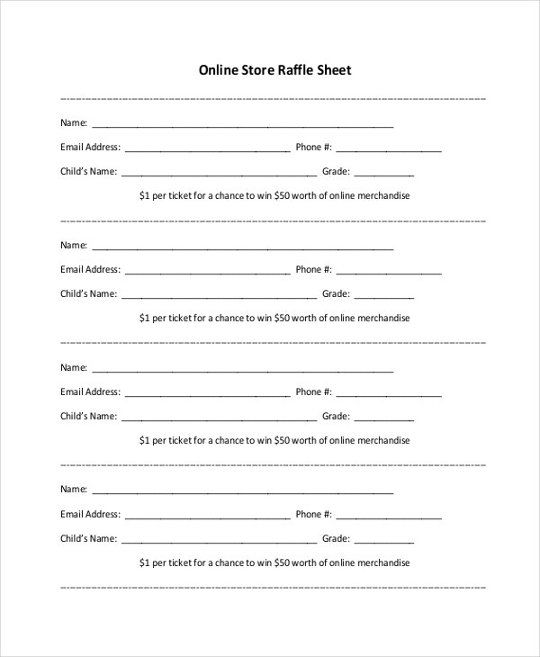 Sample Raffle Sheet. Free Printable Raffle Ticket Templates ...