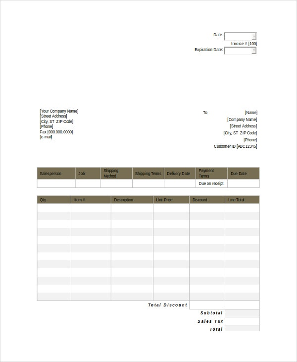 quote sheet template