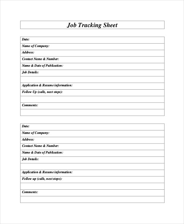 Tracking Sheet Template