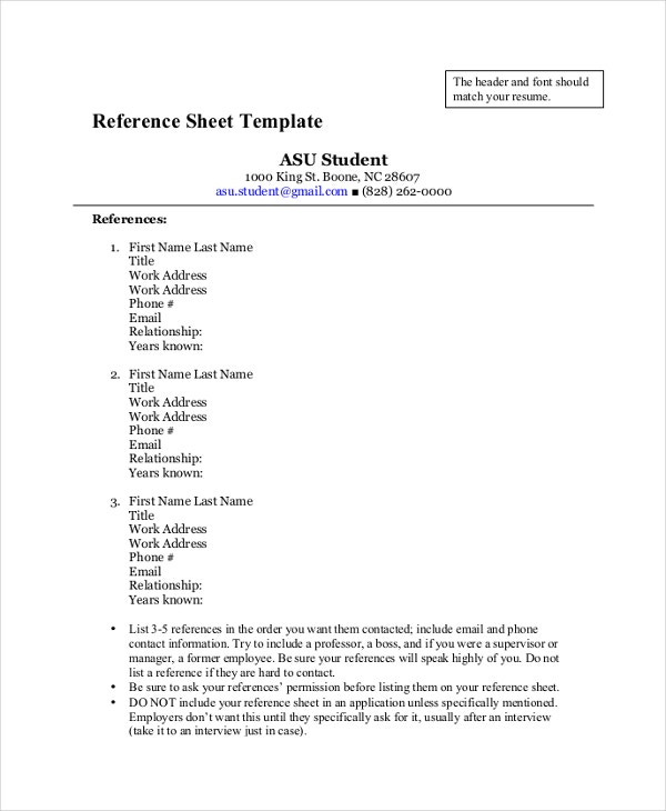 Reference Sheet Template