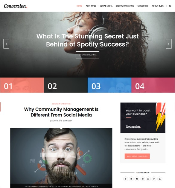 Digital Marketing & Social Media Magazine Blog Website Theme $149