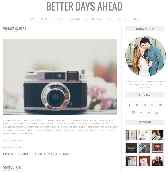 Social Media Photography WordPress Website Theme $38