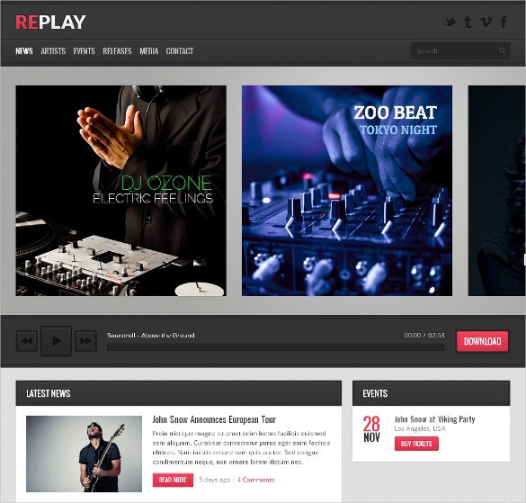 Responsive Music Social Media WordPress Website Theme $49