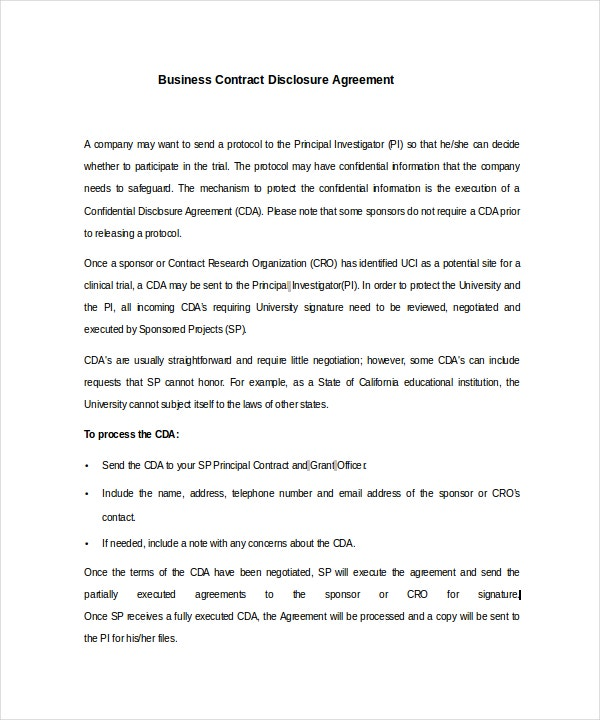 Business Contract Disclosure Agreement