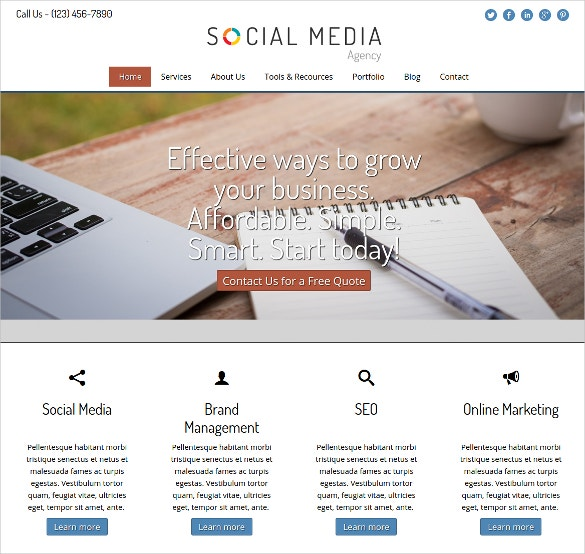 Social Media Agency WordPress Website Theme $75