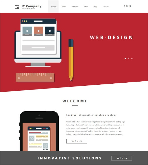 IT Responsive Social Media Moto CMS 3 Website Template $199