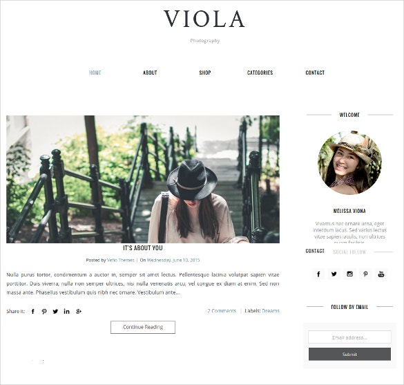 Modern Social Media Blogger Website Template $13