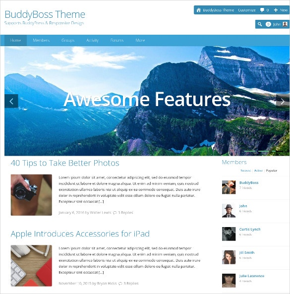 Simple Social Media WordPress Website Theme