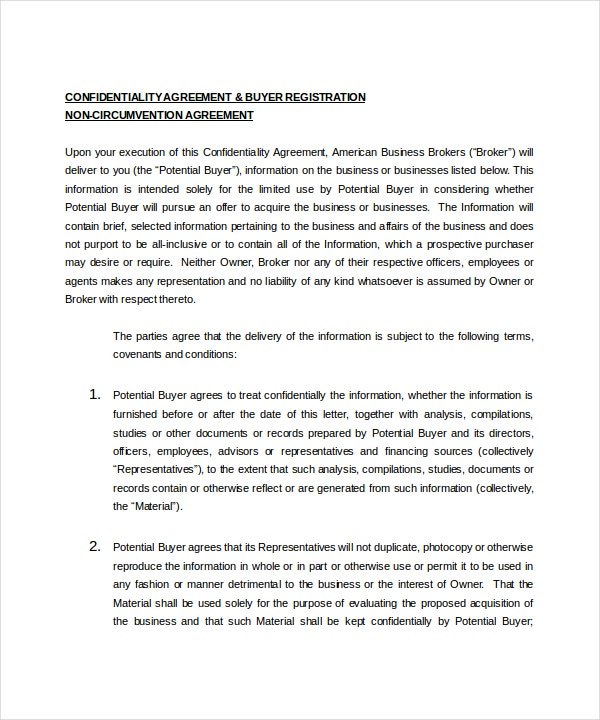 Business Confidentiality Agreement   Free Word Pdf Documents